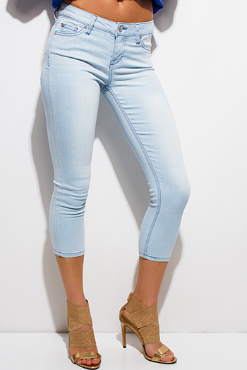 $15 - Cute cheap light blue washed denim pocketed mid rise fitted cropped capri skinny jeans