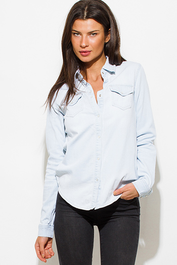$15 - Cute cheap blue mesh sexy club top - light blue washed denim quarter sleeve snap button up blouse top