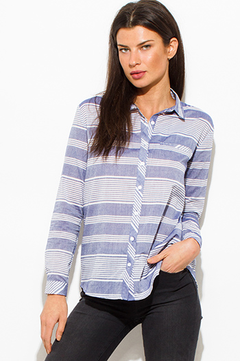 $15 - Cute cheap blue mesh sexy club top - light blue white striped cotton button up blouse top