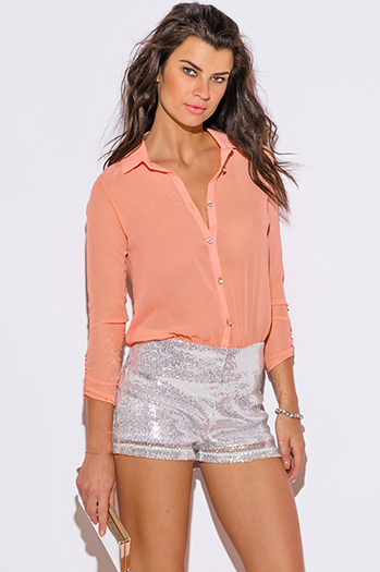 $35 - Cute cheap clothes - light coral pink chiffon silver sequined 2fer sexy party romper jumpsuit