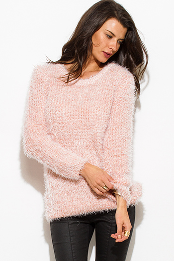 $20 - Cute cheap light dusty peach pink cotton blend fuzzy textured boho sweater knit top