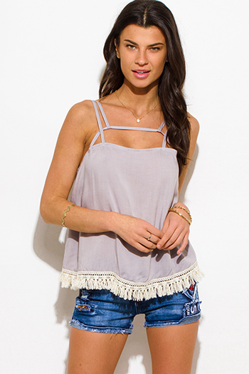 $10 - Cute cheap light khaki beige cotton blend fuzzy textured boho sweater knit top - light gray cut out caged fringe trim spaghetti strap boho swing tank top