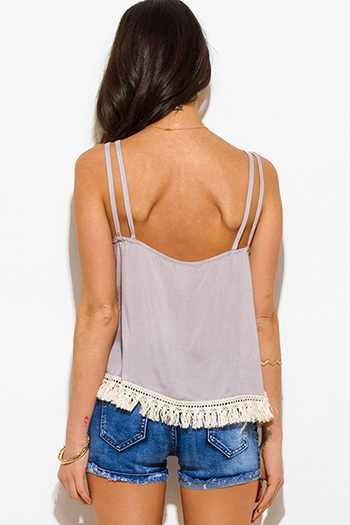 $15 - Cute cheap caged boho tank top - light gray cut out caged fringe trim spaghetti strap boho swing tank top