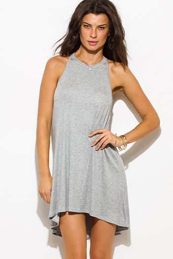 $15 - Cute cheap evening mini dress - light gray ribbed knit sleeveless halter keyhole racer back tunic top mini dress