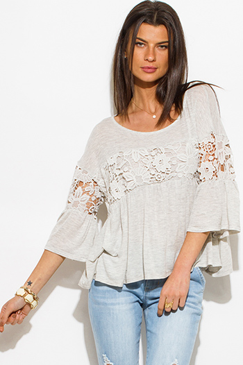 $15 - Cute cheap black chiffon crochet top - light heather gray crochet bell sleeve boho peasant blouse top