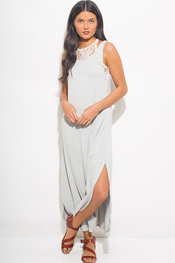 $15 - Cute cheap crepe slit sun dress - light heather gray crochet lace panel sleeveless side slit sexy party maxi sun dress