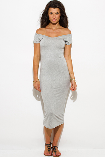 $15 - Cute cheap green fitted midi dress - light heather gray jersey cap sleeve off shoulder bodycon fitted midi dress