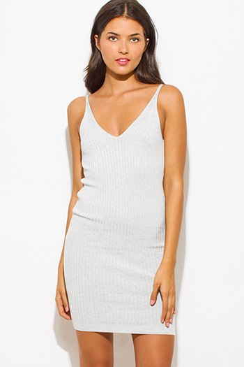 $20 - Cute cheap ribbed fitted dress - light heather gray ribbed knit thin strap v neck open back fitted bodycon sweater midi dress
