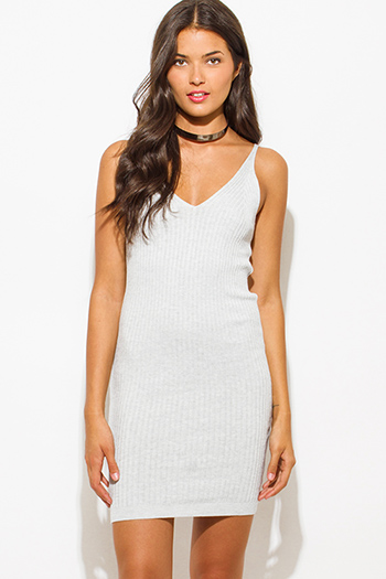 $20 - Cute cheap v neck party mini dress - light heather gray ribbed knit thin strap v neck open back fitted bodycon sexy clubbing mini dress