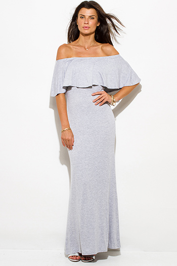 $20 - Cute cheap stripe evening midi dress - light heather gray rayon jersey ruffle off shoulder tiered formal evening maxi sun dress