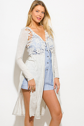 $15 - Cute cheap long sleeve sexy party romper - light heather gray see through crochet long sleeve high slit boho duster cardigan