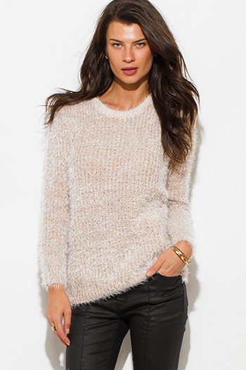 $20 - Cute cheap cotton top - light khaki beige cotton blend fuzzy textured boho sweater knit top