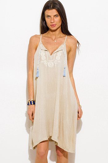 $15 - Cute cheap gray cotton mini dress - light khaki beige embroidered sleeveless racer back boho mini peasant sun dress