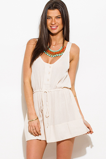 $15 - Cute cheap royal blue chiffon ruffle off shoulder crochet trim boho mini sun dress - light khaki beige rayon gauze sleeveless boho beach cover up mini sun dress