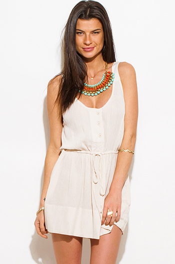 $15 - Cute cheap black floral embroidered boho strapless beach cover up tunic top - light khaki beige rayon gauze sleeveless boho beach cover up mini sun dress