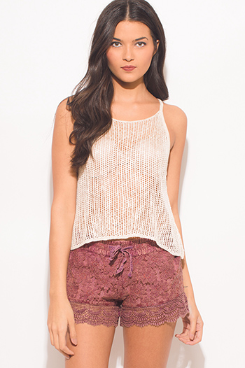 $10 - Cute cheap sequined tank sexy party top - light khaki beige see through crochet racer back boho party tank top