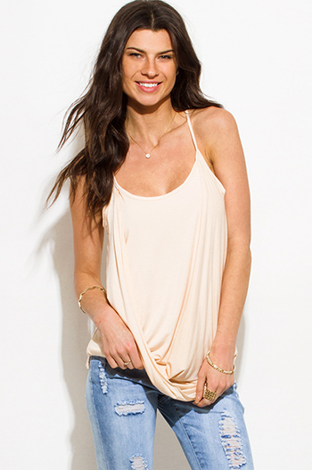 $10 - Cute cheap black sequined semi sheer cut out racer back swing tank sexy party top - light peach pink draped twisted front racer back boho tank top