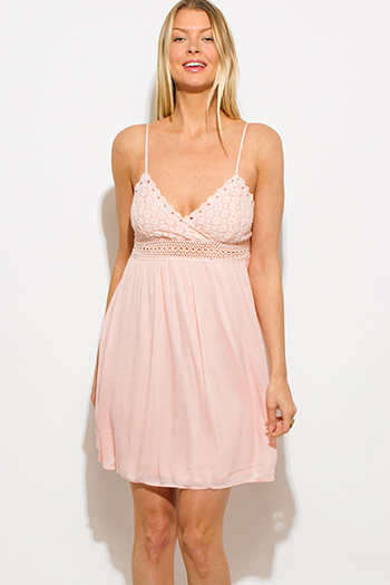 $15 - Cute cheap sweetheart backless babydoll dress - light pink crochet contrast spaghetti strap babydoll boho mini sun dress
