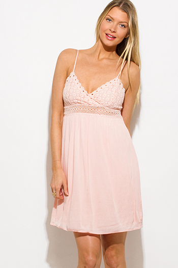 $15 - Cute cheap satin pencil mini dress - light pink crochet contrast spaghetti strap babydoll boho mini sun dress