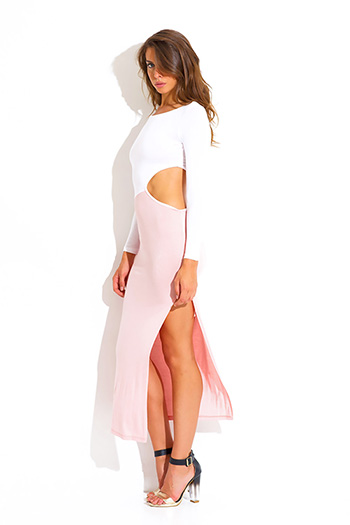 $10 - Cute cheap color block dress - light pink color block cut out high slit long sleeve fitted ankle maxi summer dress
