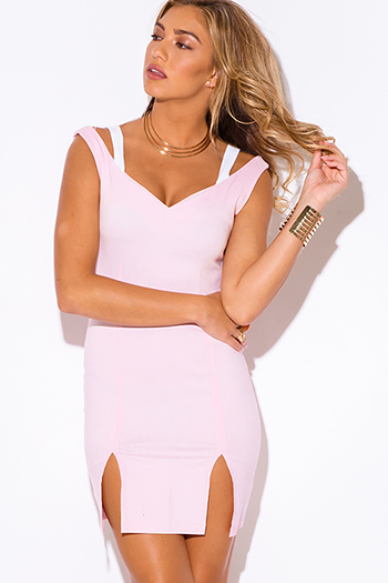 $5 - Cute cheap dress by colors pink dress shop size xl - baby pink cut out sweetheart v neck double slit fitted bodycon pencil sexy club mini dress