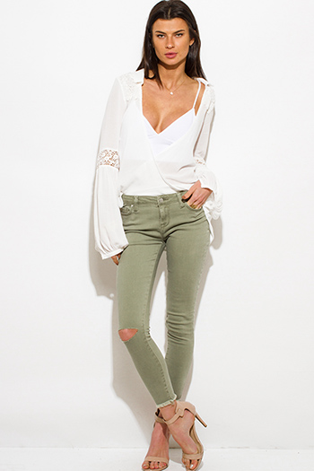 $20 - Cute cheap light sage green denim mid rise ripped knee skinny fit ankle jeans