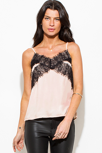 $15 - Cute cheap chiffon lace slit top - light taupe peach lace contrast spaghetti strap camisole top