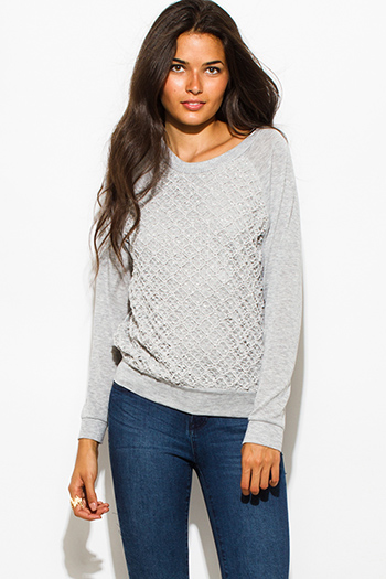 $15 - Cute cheap top - lighty gray textured embellished crochet knit round neck long sleeve sweater top