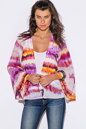 $9 - Cute cheap print bell sleeve top - lilac purple abstract tie dye print chiffon boho kimono sleeve blazer top