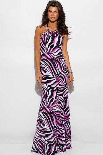 $30 - Cute cheap clothes - lilac purple black zebra animal print halter bejeweled open back evening sexy party maxi dress