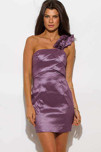 $15 - Cute cheap ruffle dress - lilac purple metallic tiered one shoulder ruffle cocktail sexy party mini dress