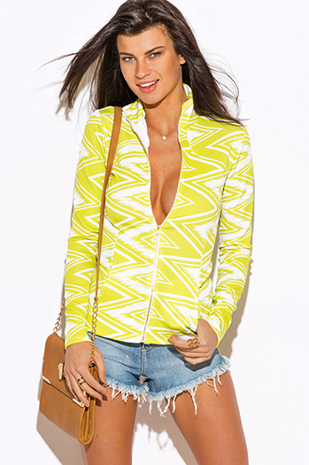 $10 - Cute cheap print bell sleeve top - lime green chevron print scuba zip up high neck fitted sporty long sleeve jacket top