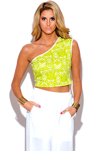 $5 - Cute cheap coral mesh inset sexy party crop top - lime green ethnic print one shoulder fitted party crop top