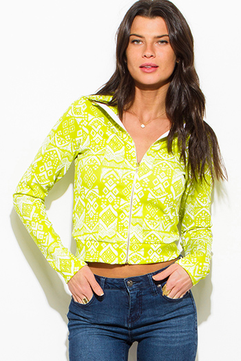 $15 - Cute cheap print bell sleeve top - lime green ethnic print zip up mock neck sporty long sleeve jacket top