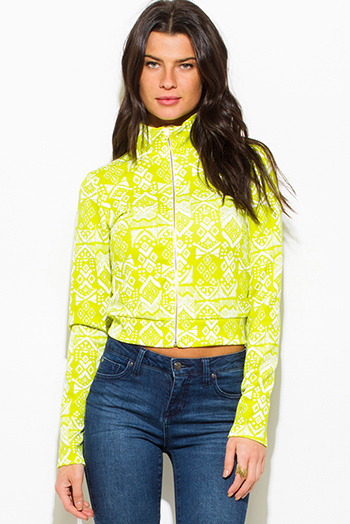 $15 - Cute cheap white satin faux leather trim zip up long sleeve bomber jacket top - lime green ethnic print zip up mock neck sporty long sleeve jacket top