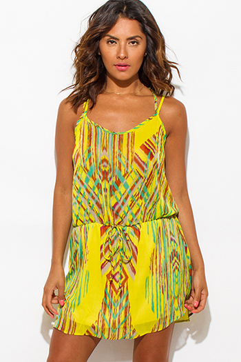 $12 - Cute cheap chiffon ruffle crochet dress - lime green multi color ethnic print semi sheer chiffon cut out criss cross open back boho mini sun dress