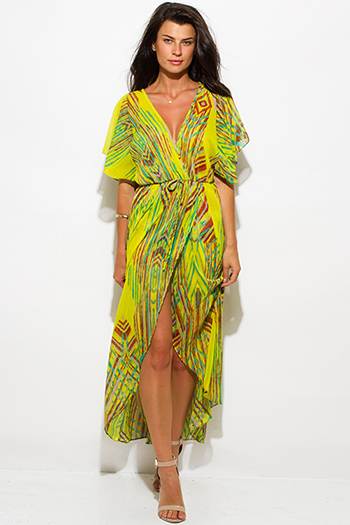 $25 - Cute cheap ethnic print kimono dress - lime green multicolor abstract ethnic print semi sheer chiffon kimono sleeve high slit boho maxi sun dress