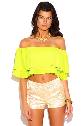 $15 - Cute cheap off shoulder top - lime green ruffle off shoulder crop top