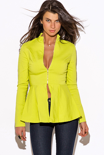 $20 - Cute cheap jacket - lime green zip up high neck peplum blazer jacket