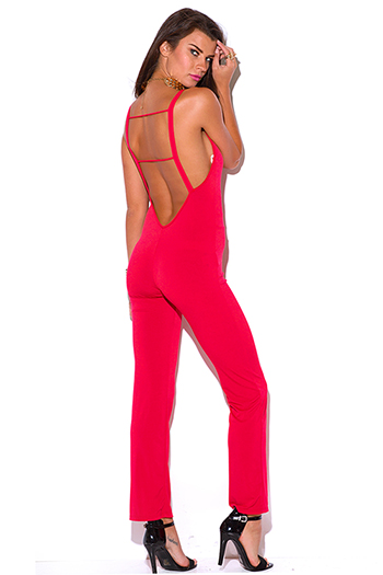 $15 - Cute cheap caged open back jumpsuit - lipstick red backless caged cut out fitted bodycon evening sexy clubbing jumpsuit