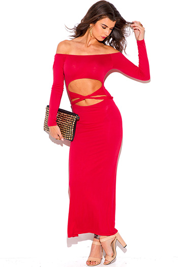$10 - Cute cheap off shoulder crochet dress - lipstick red cut out off shoulder long sleeve jersey summer maxi dress