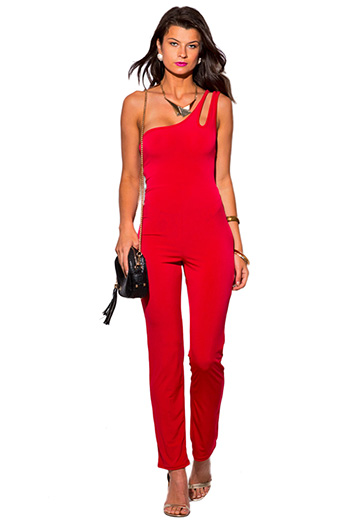 $15 - Cute cheap red open back party jumpsuit - lipstick red cut out one shoulder backless evening party sexy clubbing jumpsuit