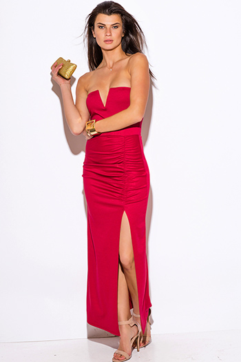 $10 - Cute cheap maxi dress - Lipstick red metallic shimmer cut out v neck formal high slit strapless ruched evening sexy party  maxi dress