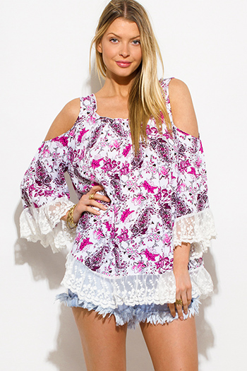 $15 - Cute cheap gold and ivory scarf print silky boho kimono tunic top - magenta pink floral print cold shoulder bell sleeve lace trim boho blouse top