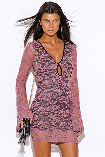 $20 - Cute cheap dress by colors pink dress shop size xl - dusty pink lace deep v neck cut out backless long bell sleeve fitted boho sexy party mini dress
