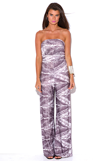 $10 - Cute cheap red yellow abstract print strapless sexy party jumpsuit 79510 - dusty purple graphic print strapless wide leg party jumpsuit