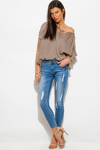 $20 - Cute cheap medium blue washed denim mid rise distressed skinny fit ankle jeans