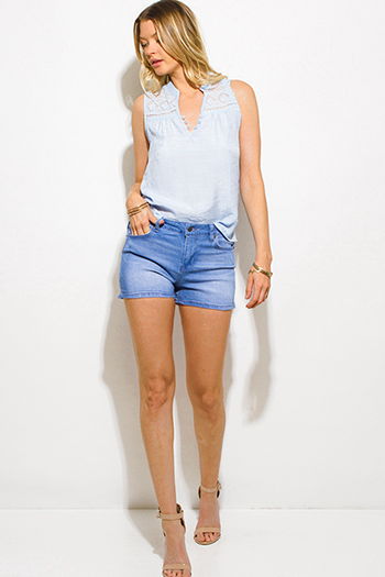 $15 - Cute cheap leather pocketed shorts - medium blue washed denim mid rise jean shorts