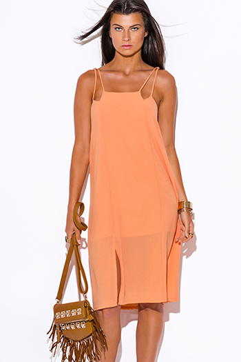 $20 - Cute cheap sundress - papaya pastel orange crepe cut out side slit sexy party midi sun dress