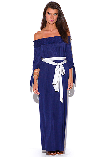$15 - Cute cheap blue draped maxi dress - midnight navy blue smocked off shoulder sashed boho evening maxi dress